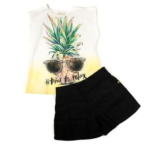 Girls Time To Relax Pineapple Top & Shorts Set